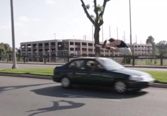 Logan Paul jumps over speeding car