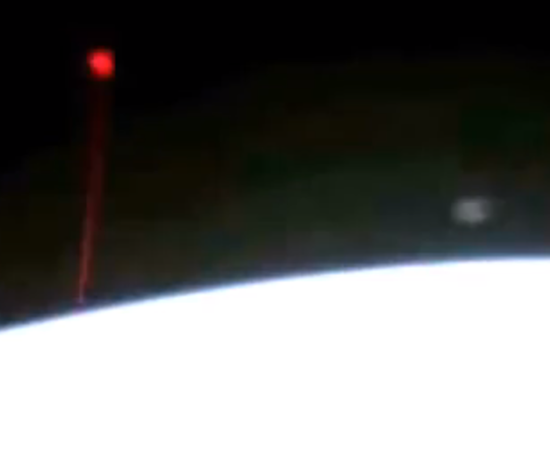 Mysterious read beam of light shooting towards Earth - captured by International Space Station webcam