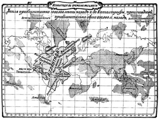 Map of Atlantis according to William Scott-Elliott (The Story of Atlantis, Russian edition, 1910)