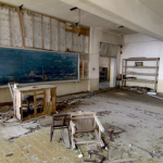 Inside one of the buildings on Hashima Island