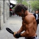 Homeless bodybuilder Sayagh Jacques on the streets of Paris