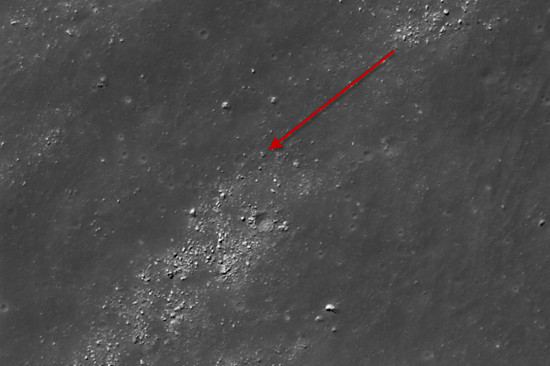 Arrow shows location of triangle-shaped UFO object located in the Moon's Ryder crater