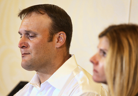 NFL fullback discusses being lost at sea during a news conference covering the ordeal