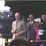 A closeup photo of President Dwight Eisenhower was also among the film slides