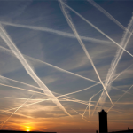 Chemtrails are often seen forming a crosshatch pattern in the sky