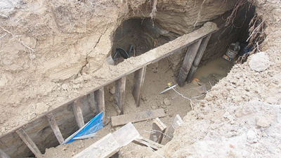 Police dug up the tunnel as part of the investigation