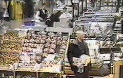Surveillance video footage showing Robert Durst shoplifting a sandwich from a Wegmans Supermarket