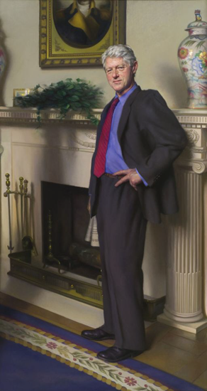 Celebrated artist snuck a representation of Monica Lewinsky's famous semen-stained dress in the background of the painting of President Bill Clinton
