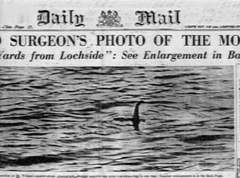 Daily Mail newspaper cover following British surgeon, Colonel Robert Wilson's famous Lochside photo