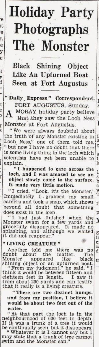 Scan of 1934 Loch Ness Monster article