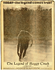 Legend of Boggy Creek movie advertisement in newspaper