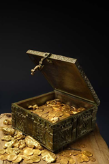 Forrest Fenn gold, coins, and jewelry inside the bronze treasure chest