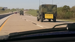 Military convoy spotted travelling through Texas in April 2015