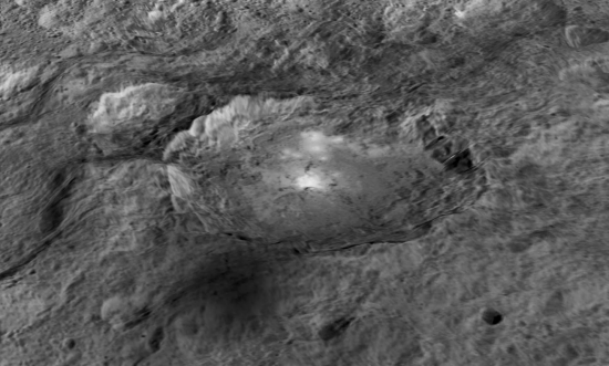 """Spot 5"" in Occator Crater (enhanced; May 2015)."