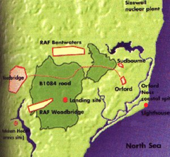 Map of Rendlesham Forest area