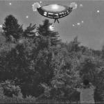 Artist recreation of Barney observing the UFO in Lincoln, New Hampshire