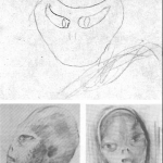 "Barney Hill, under hypnosis, drew the above (top) sketch of the ""leader"" of the alleged abductors. Bottom: Two sketches by David Baker are based on two interviews Baker had with Barney, one under hypnosis"