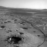 Yucca flats, near Groom Lake Mine, pocked with bomb craters