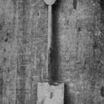 The shovel introduced as evidence in the trial against Holmes