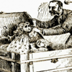 Newspaper illustration showing Holmes place the Pitezel children in a trunk