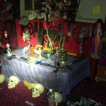 Inside the home police found a satanic alter surrounded with chicken bones and human skulls