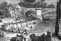 The Thames river bank below Barnes railway bridge, where a box containing Thomas' remains was found on March 5, 1879