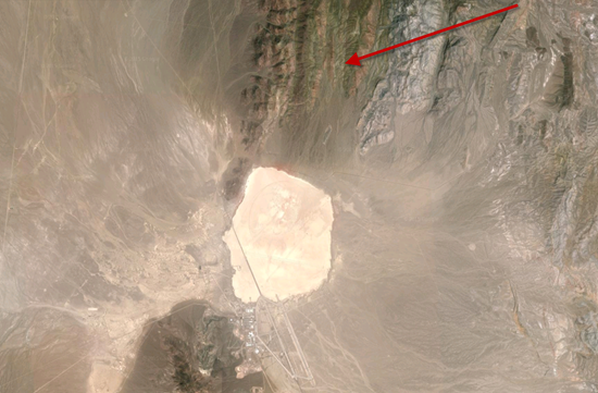 Arrow points to the location of Groom Lake Mine in relation to Groom Lake and Area 51 (at the bottom of the photo)