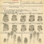 George Stinney fingerprints on booking card