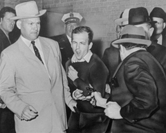 The moment Lee Harvey Oswald was shot by Jack Ruby in Dallas, Texas