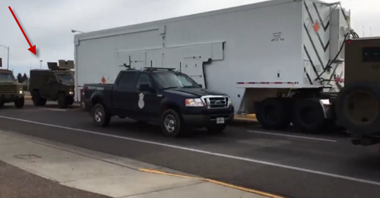 Here is the moment the military vehicle crashed into the back of the semi