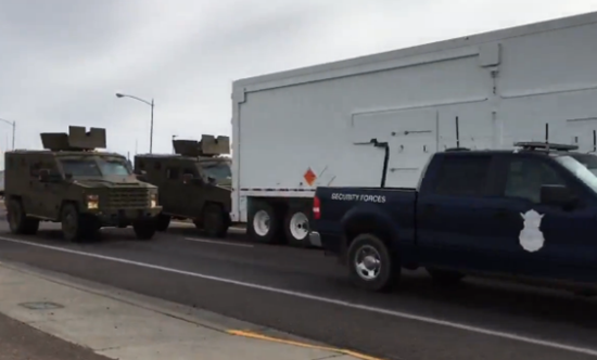 The military truck brakes hard trying to avoid the crash