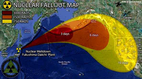 Map showing estimated nuclear fallout from the Fukushima nuclear power plant accident