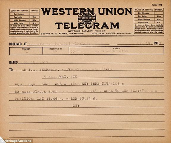 Newly discovered SOS distress telegram from Titanic proves owners knew ship was in distress and sinking