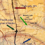 Map showing potential locations of D.B. Cooper jump