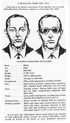 FBI wanted poster for D.B. Cooper