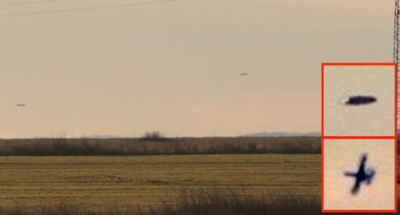 Fighter jet chasing metallic disc-shaped UFO over field in Bulgaria