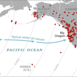Map showing where Japanese Fire Balloons were discovered in the United States