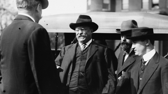 Theodore Roosevelt just before the assassination attempt during his 1912 campaign