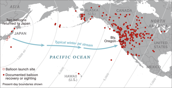 NatGeo map showing the locations where Japanese Fire Balloons were discovered