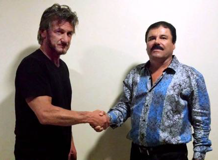 Sean Penn shaking hands with El Chapo