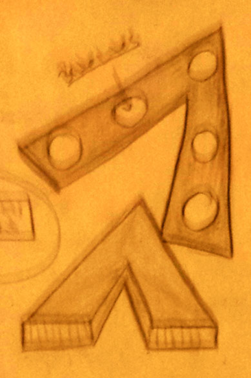 Sketch by witness of huge, silent V-shaped UFO flying slowly over Vernon, New Jersey