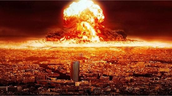 Illustration of atomic bomb exploding near a major city thumb