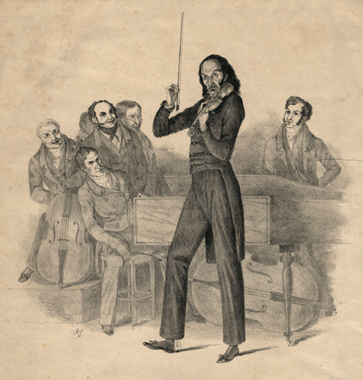 Niccolo Paganini on the cover of a program advertising his concert thumb