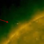 One of a series of photos showing a mysterious object moving around the Sun
