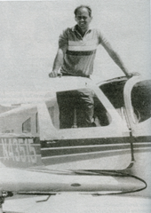 Investigator Gary Caradori standing in the doorway of his private airplane