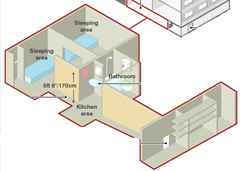 Diagram showing the dungeon built underneath the Fritzl home in Austria