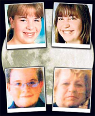"The ""above ground children"": Monika (14), Lisa (16), Rosemarie (67), and Alexander (12)"