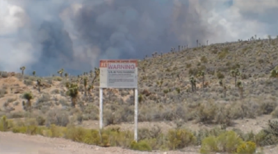 Roiling smoke from raging fire at Area 51