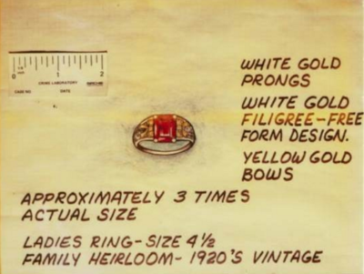 Sketch and details of ring taken as a memento by the Golden State Killer