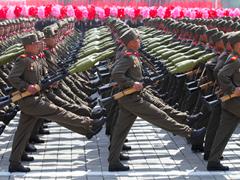 Korean soldiers marching